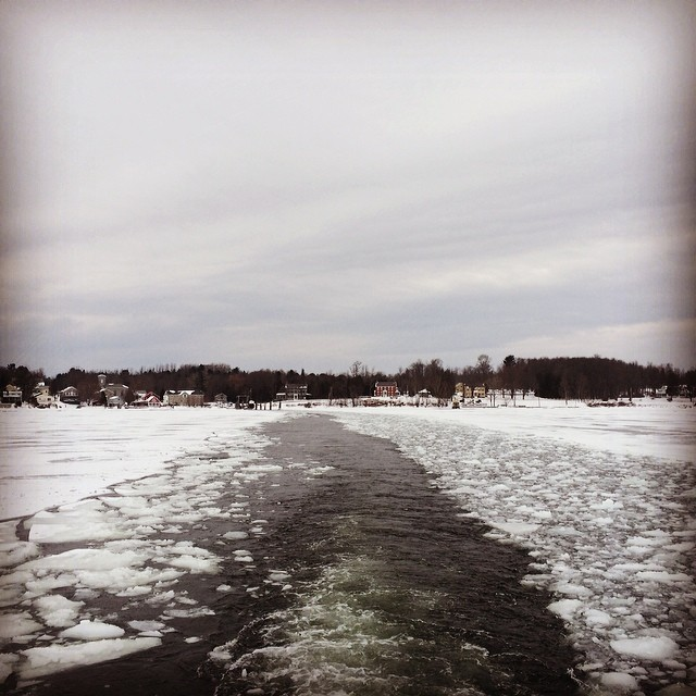 Ever seen the Essex-Charlotte Canal? Snapshot from an icy ferry crossing on February 19, 2014.