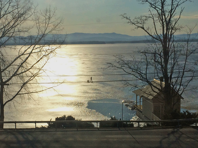 Photograph of Essex artist Bill Amadon (and his dog) walking/photographing on frozen Lake Champlain.