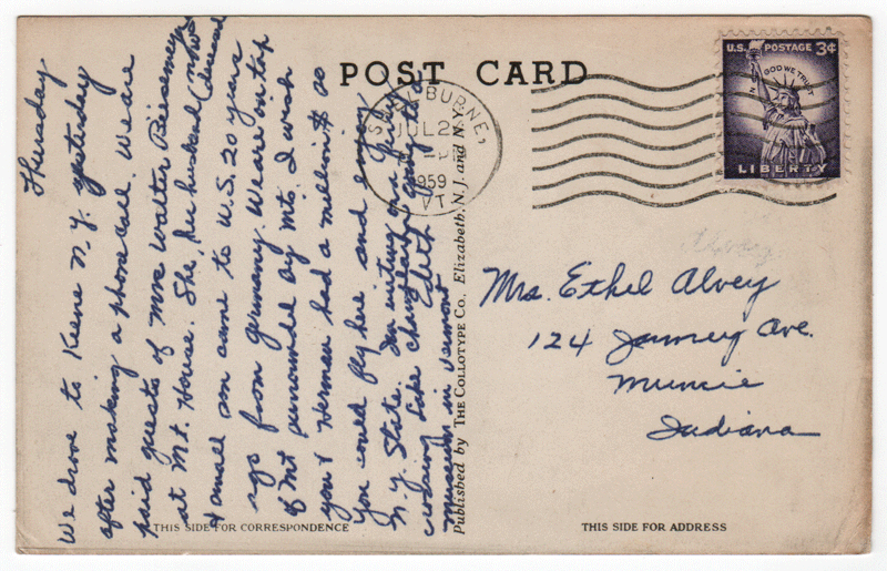 Rear of vintage Rosslyn postcard addressed to Mrs. Ethel Alvey.