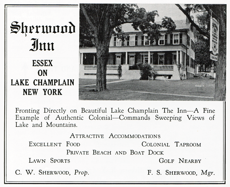 Sherwood Inn advertisement from 1949 Adirondack Guide. (Source: Adirondack Guide via David Brayden)